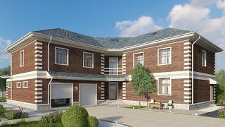 Проект дома в классическом стиле из кирпича. Дом с сауной, бассейн и терраса. Ремстройсервис KR-535