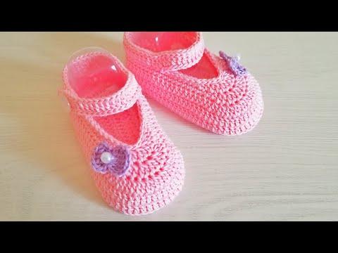 Пинетки туфельки для девочки крючком. Подошва 10 см.