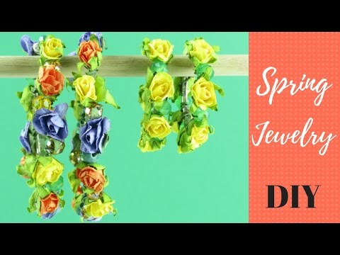 MAKE EASY SPRING JEWELRY | DIY Colorful Hoop  Earrings Tutorial | DIY Flower Earrings
