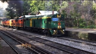6 loco Grain Train ON FIRE! Mount Lofty Railway Station! Loud!