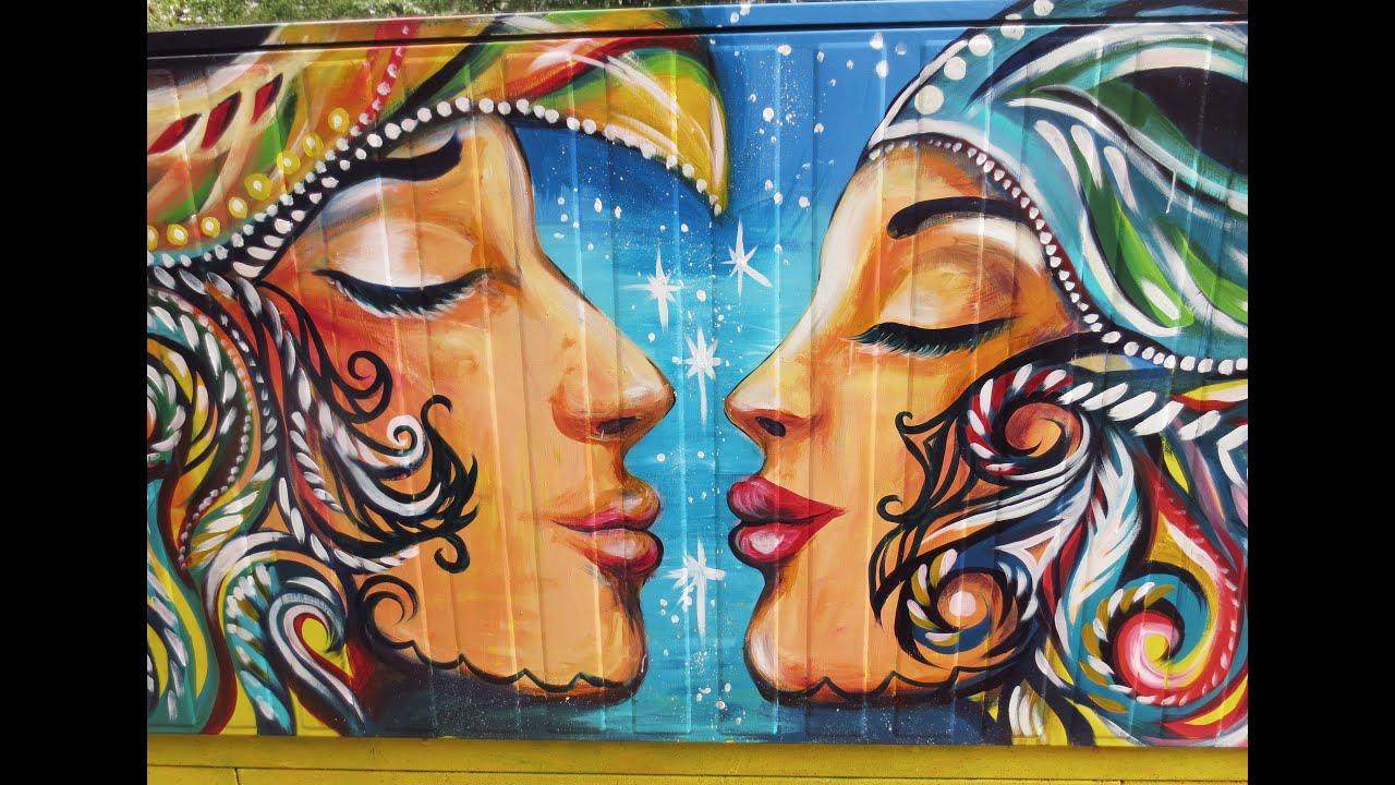 Commedia dell 39 arte mural for bell box toronto nk youtube for Arte mural mexicano
