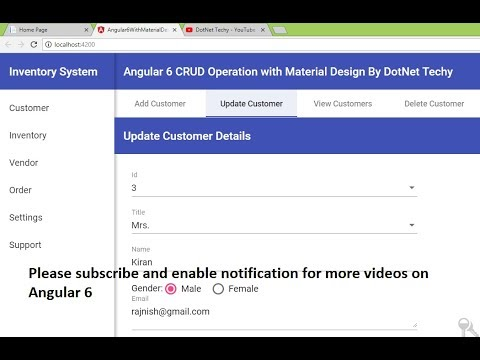 CRUD operation in Angular 6 with material design 2