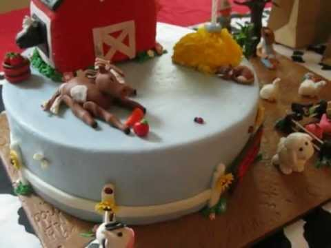 First Birthday BarnyardFarm Animal Theme Cake YouTube