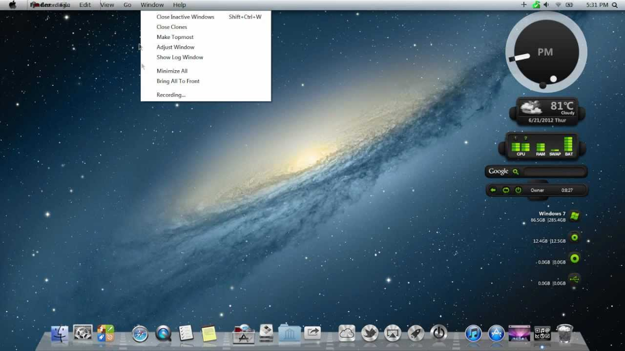 Transform windows 7 & windows 8 into mac os x 10. 8 mountain lion.
