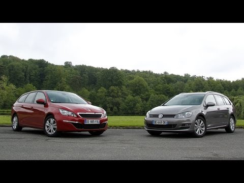 comparatif peugeot 308 sw volkswagen golf sw youtube. Black Bedroom Furniture Sets. Home Design Ideas