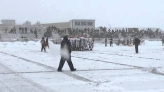 Check out the snowy conditions for Clinton-NorthPointe Christian D6 football state semifinal