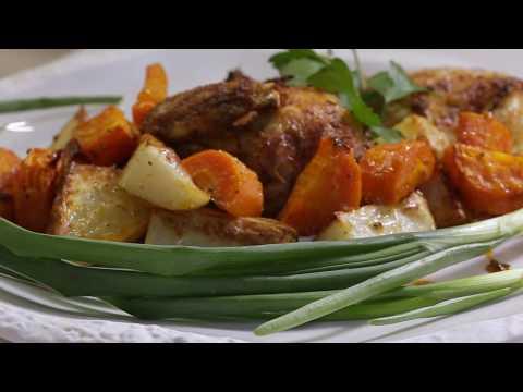 Золотистые цыплята в духовке. Запечённые овощи. Вкусный ужин