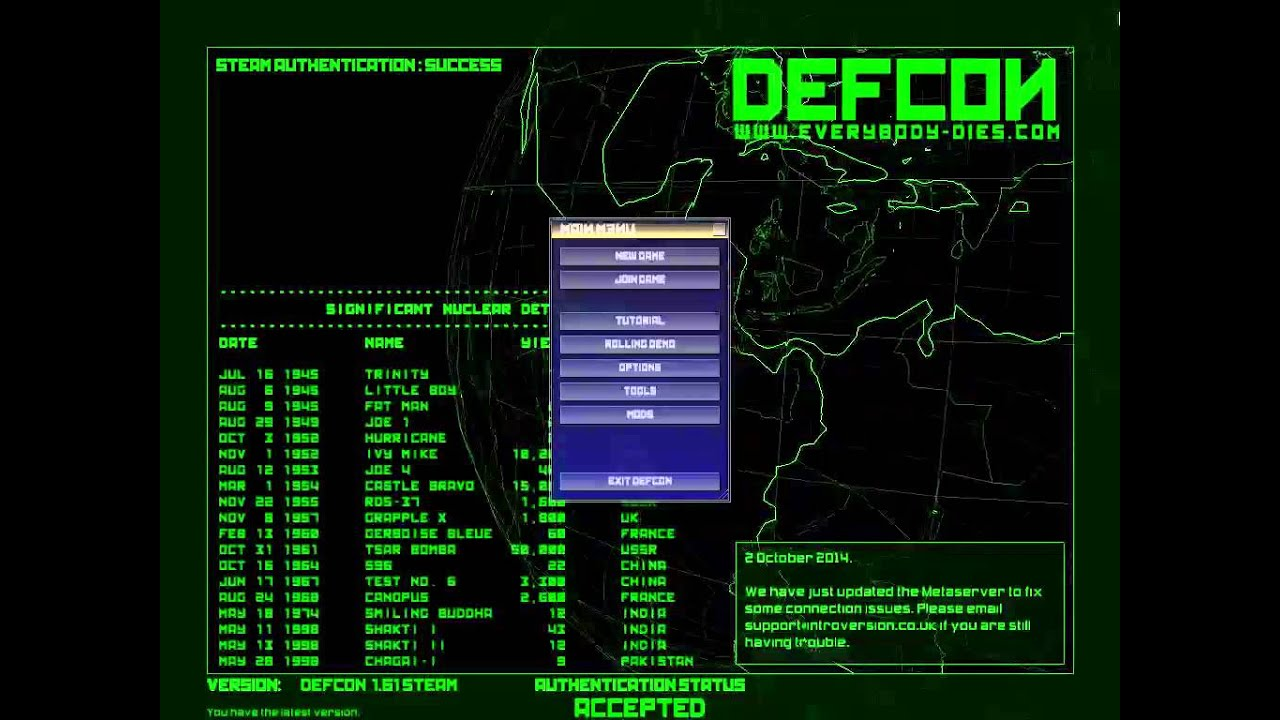 Defcon 6-cpu player simulation dating