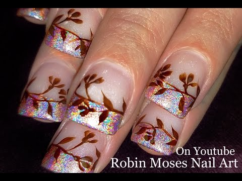 Antique Flower Nails | Nude holo tip Nail Art Design Tutorial