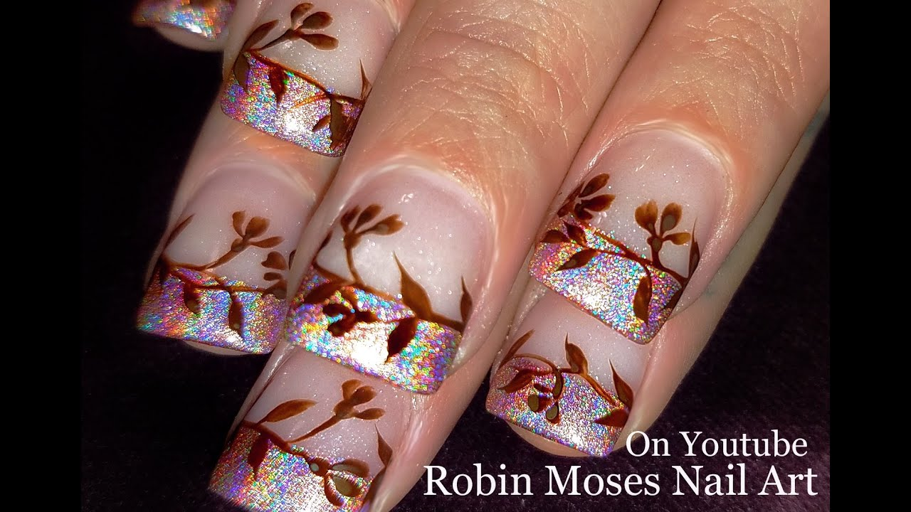 Antique Brown Flower Nails Nude Holo Tip Nail Art Design Tutorial
