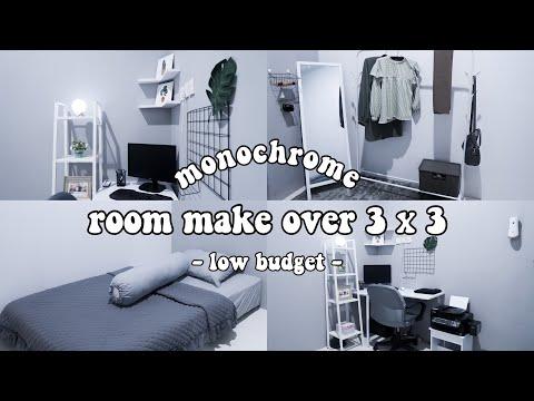 MAKEOVER KAMAR 3x3 LOW BUDGET MONOCHROME | Extreme Room Makeover Indonesia