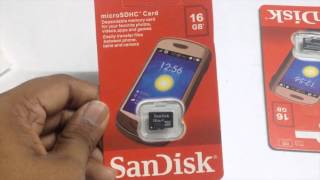 Sandisk 16GB microSD memory card: Unboxing.