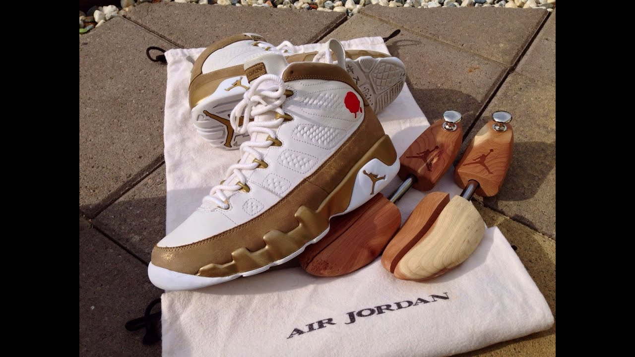 3660b8b358f6cf Air Jordan 9 (IX) Premio BIN 23 -- White   Metallic Gold - YouTube
