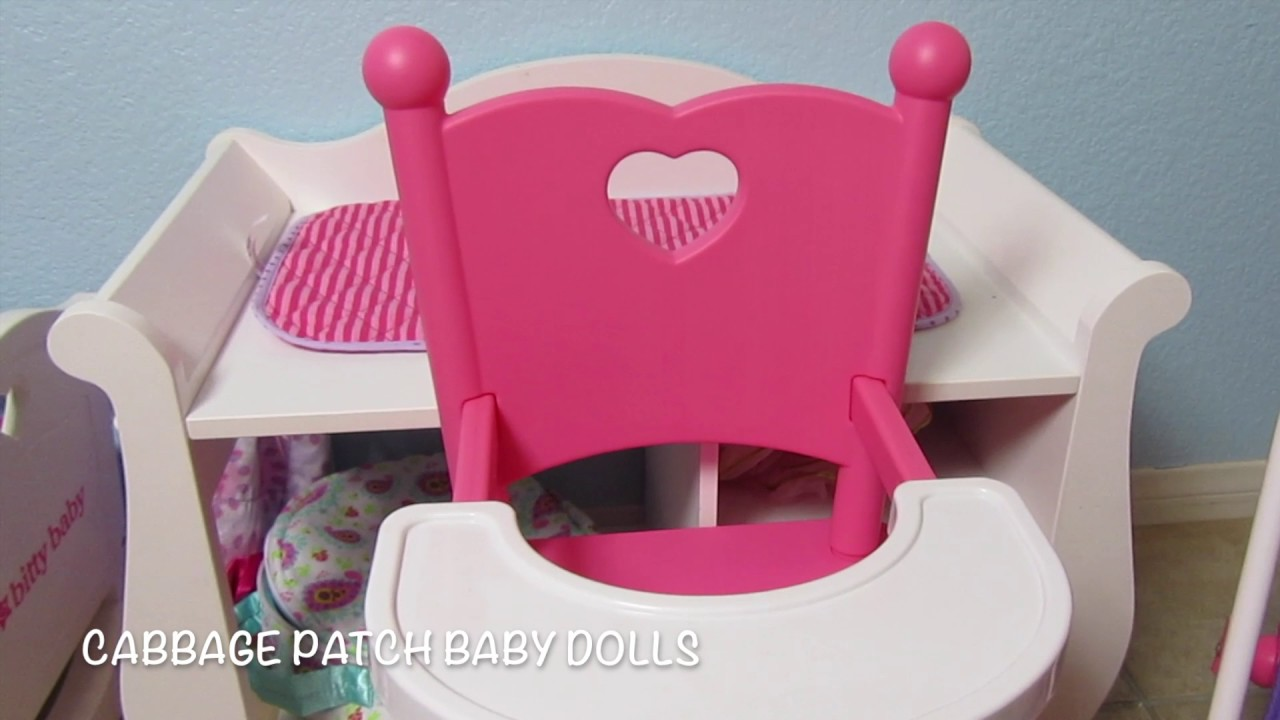 Baby Doll High Chairs Tulip Table And Uk Cabbage Patch Kids Get A New You Me Chair Unboxing Dolls Heather