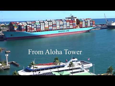 Sofie Maersk  in Honolulu Harbor 3/27/18 with Sloop John B