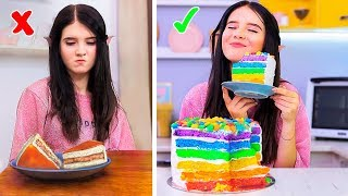 8 DIY Rainbow Food vs Real Food Challenge!