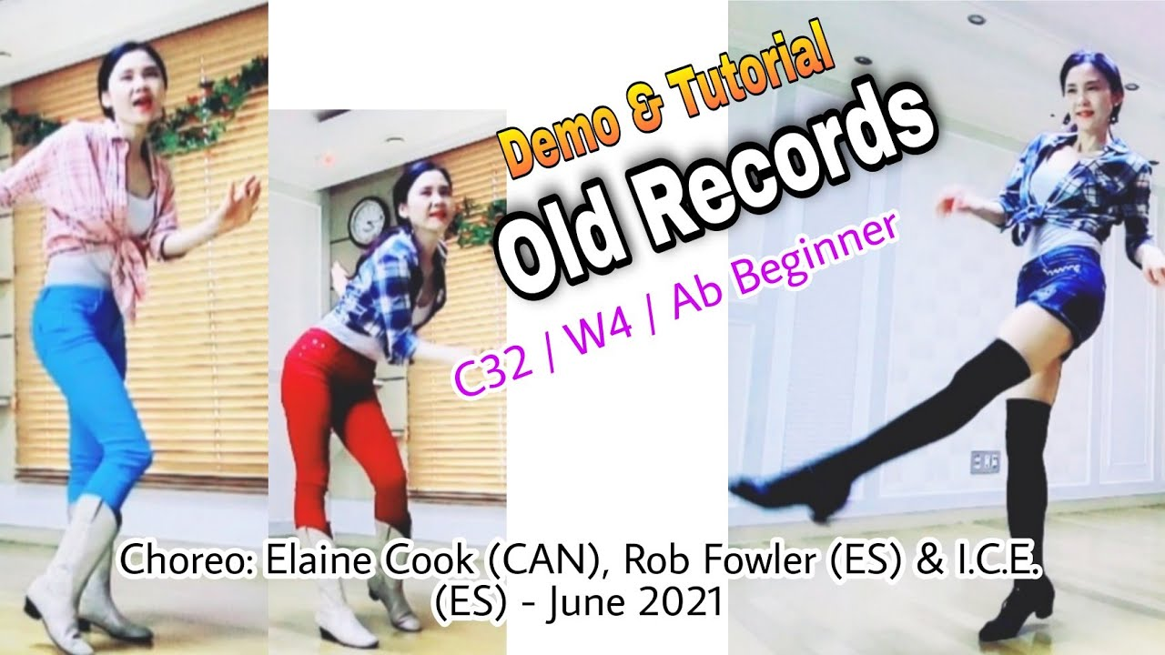 Old Records-Line Dance(Ab Beginner)-Demo&Tutorial  / Rock & Roll #왕초급