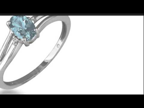 .60ct Oval Aquamarine and Diamond Ring in 10k White Gold - SuperJeweler.com