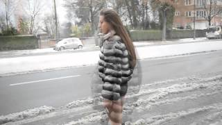 Exhibitionist Hooker Waiting A John In Chinchilla Fur Jacket & Louboutin Boots In Street