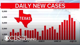 """Texas governor greg abbott said the coronavirus is spreading in at an """"unacceptable rate"""" monday, and did not take shutting state back down off the..."""