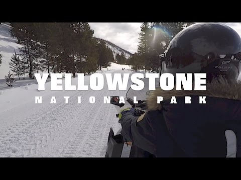Winter snowmobiling adventure in Yellowstone