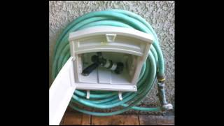 Garden Hose Hanger With Storage Cabinet; Water Hose Hanger, Outdoor Storage Cabinet