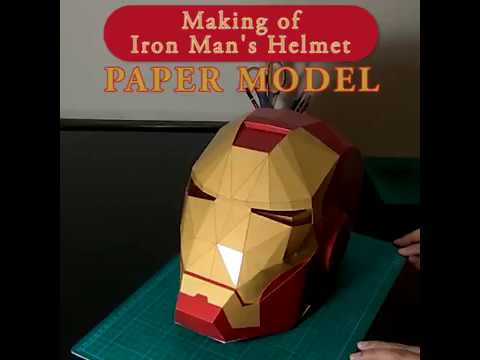 1:1 Paper Model / Papercraft of Iron Man's Helmet (Making)