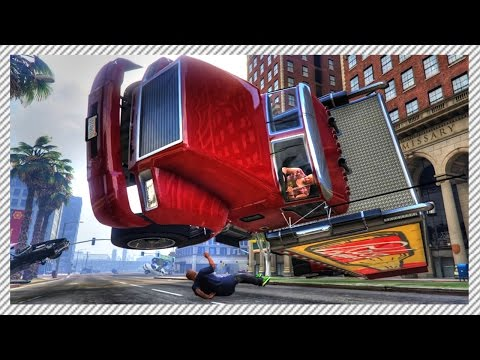 GTA 5 Mods - CRAZY 'CARMAGEDON' ATTACK!! Vehicles Become Angry (GTA 5 CRAZY CARS GAMEPLAY)