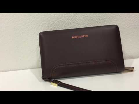 Bostanten Men's Leather Clutch Purse Handbags Checkbook Long Wallet with Wristlet