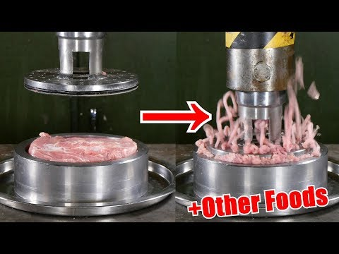 Pressing Meat Through Small Holes with Hydraulic Press | in 4K