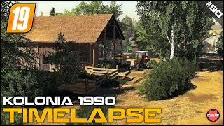 FS19 BUILDING SHEEP FARM, FARM BUILD, HARVESTING ⭐ Kolonia 1990 #90 ⭐ Farming Simulator 19 Timelapse