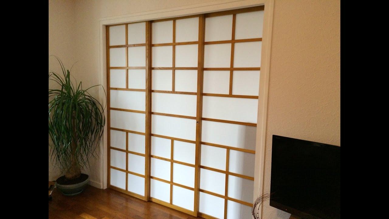 la cloison coulissante est son originalit japonaise youtube. Black Bedroom Furniture Sets. Home Design Ideas