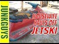 House wife loads Jet Ski and trailer into my 12 yard dumpster in Fort Worth TX / dfwjunkguys.com