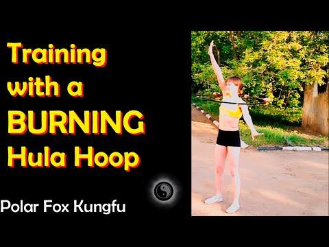 Polar Fox Kung Fu: Beautiful Girls Training with Fire-Burning Hula Hoop!