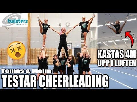 MALIN KASTAS 4M UPP I LUFTEN * Vi testar cheerleading*