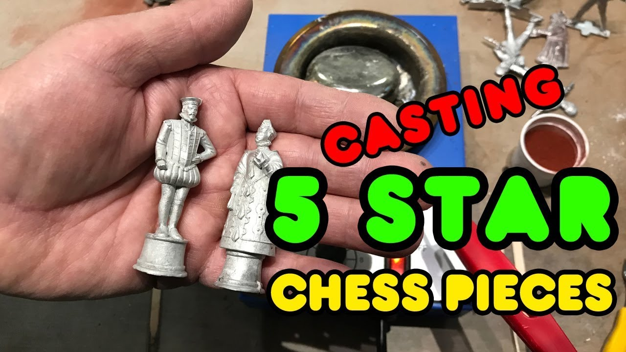 Casting a Spanish Armada 1588 Chess Set with 5 Star Pewter using a Solder Pot