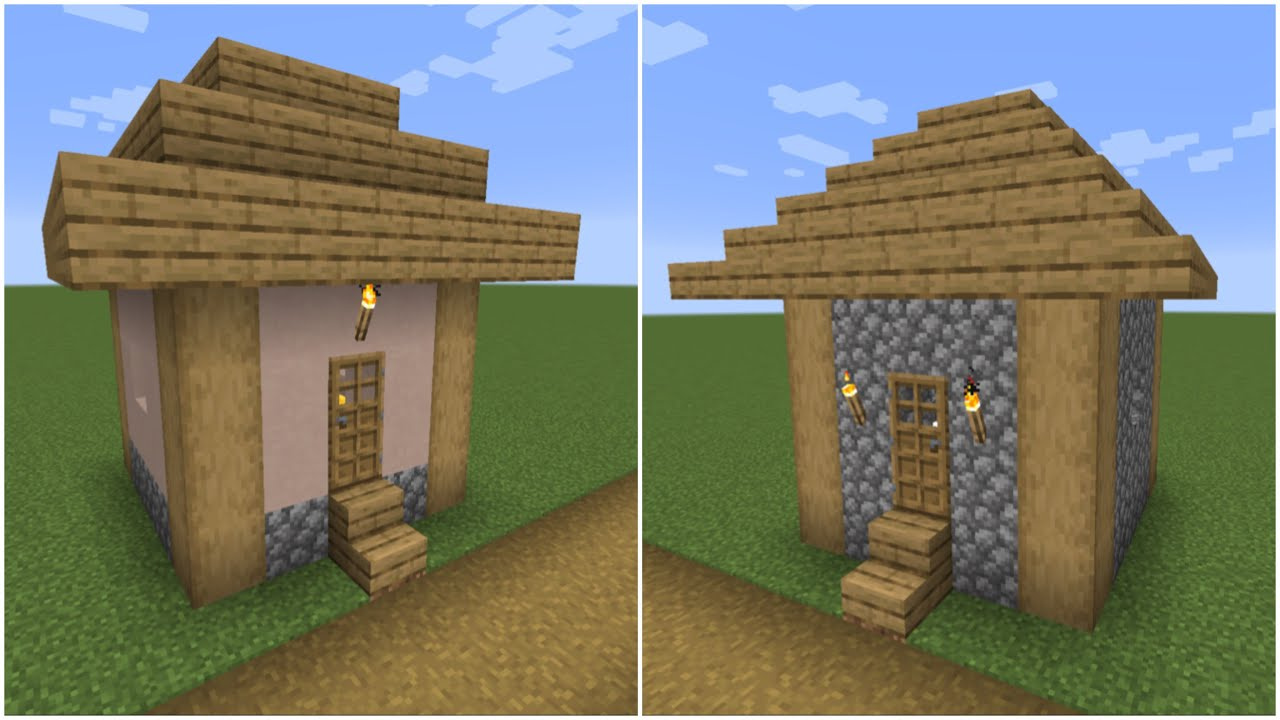How To Build A Minecraft Village Small House 1 2 1 14 Plains Youtube