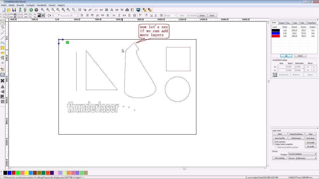Laser cutter software RDworks v8 tutorial 03 How to Change ...