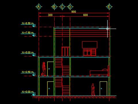 Corte longitud de casa habitaci n youtube for Como se disena una casa