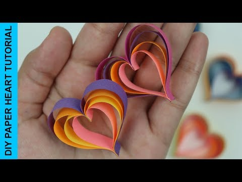 How to Make Quick and Easy Paper Hearts DIY Tutorial | Simple DIYs for Valentine's Day Crafts Idea