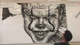 Pennywise Timelapse Whiteboard Drawing