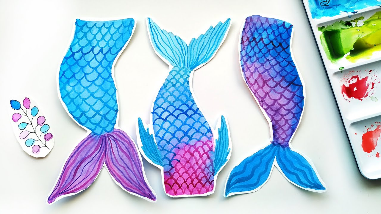 DIY Watercolor  Mermaid  Bookmarks Ideas - Easy Mermaid Tail Painting Tutorial