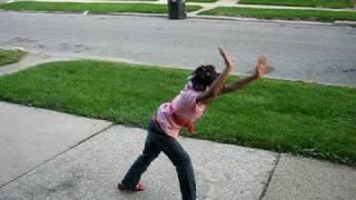 Shannon doing cartwheels