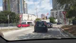 Tesla Full Self Driving X in DownTown Tampa + Interstate Off Ramp FAIL | AutoPilot | AutoSteer | AP2