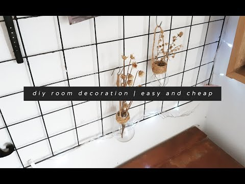 diy #1 aesthetic room decor cheap dan easy !! - wall grid, hanging vase, etc [Indonesia]