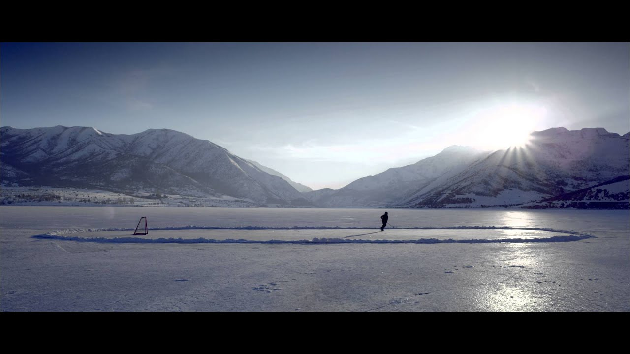 Royalty Free Stock Footage Of Someone Playing Hockey On A Frozen Pond Youtube