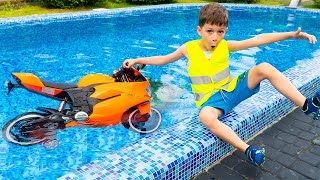 Artem Pretend play with Sportbike INTO THE POOL Funny story for kids