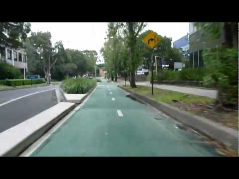 Bourke Street Separate Cycleway from Woolloomooloo to Alexandria, NSW Australia