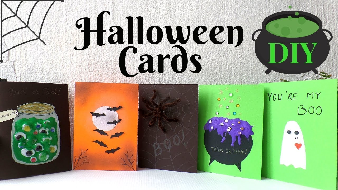 4 Halloween Cards To Make DIY  Easy & Funny Halloween Card Ideas for Kids  4  by Fluffy Hedgehog