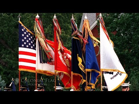 The Order Of US Military Flags In A Presentation
